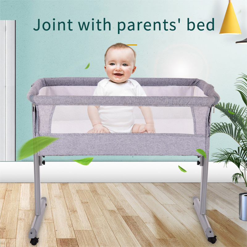 Newborn Bed Can Be Docked Crib Foldable Multi-function Ultra-light With Roller Easy To Carry Crib