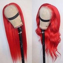 Bombshell vermelho densidade pesada longa reta perucas sintéticas frente do laço glueless fibra resistente ao calor cabelo médio de separação para mulher