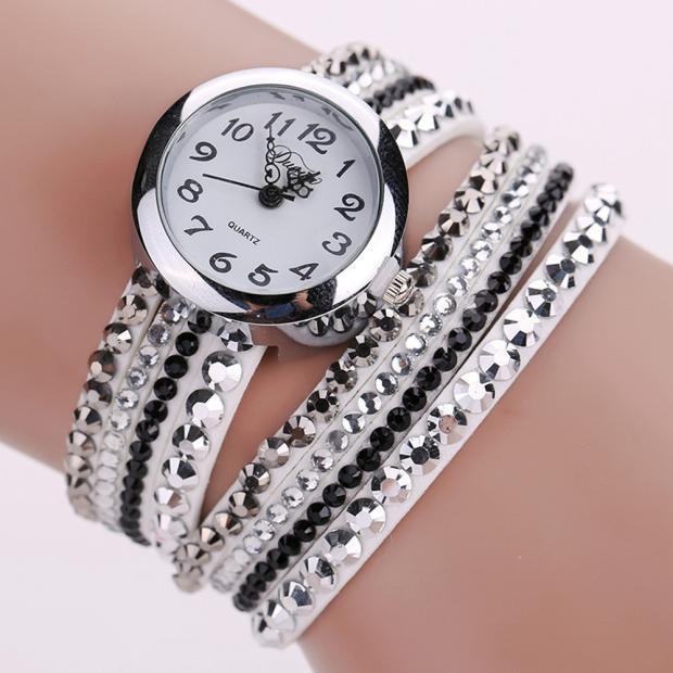 DUOYA Watch Women famous brand Relojes mujer 2016 Chic Minimalist Leather Fashion Ladies Watches Rhinestone Bracelet Watch Feida