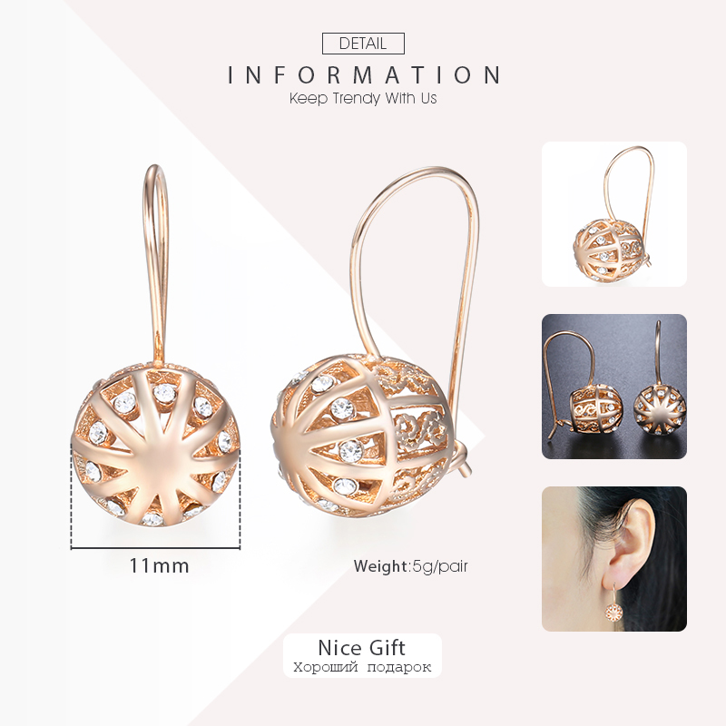Davieslee Womens Stud Earrings 585 Rose Gold Filled Round Ball Stud Earring for Women Fashion Jewelry Snap Closure LGE66 3
