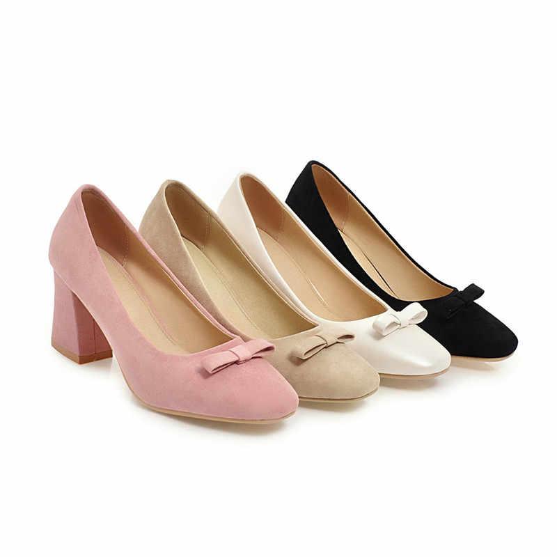 Primavera scarpe Nuove donne di stile di Base retrò tacchi alti punta Quadrata per ufficio e di carriera superficiale Calzature pompe delle donne Più Il formato 33-43