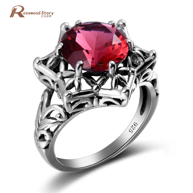 Trendy Luxury Created Ruby Love Ring Women 925 Sterling Silver Hollow Cocktail Ring Handmade Wedding Female Bague Party Jewelry