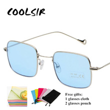 COOLSIR Blue Oean Lens Sunglasses Fashion Women Mens Metal Thin Frame Clear Sun Glasses Lady Square Mirrored