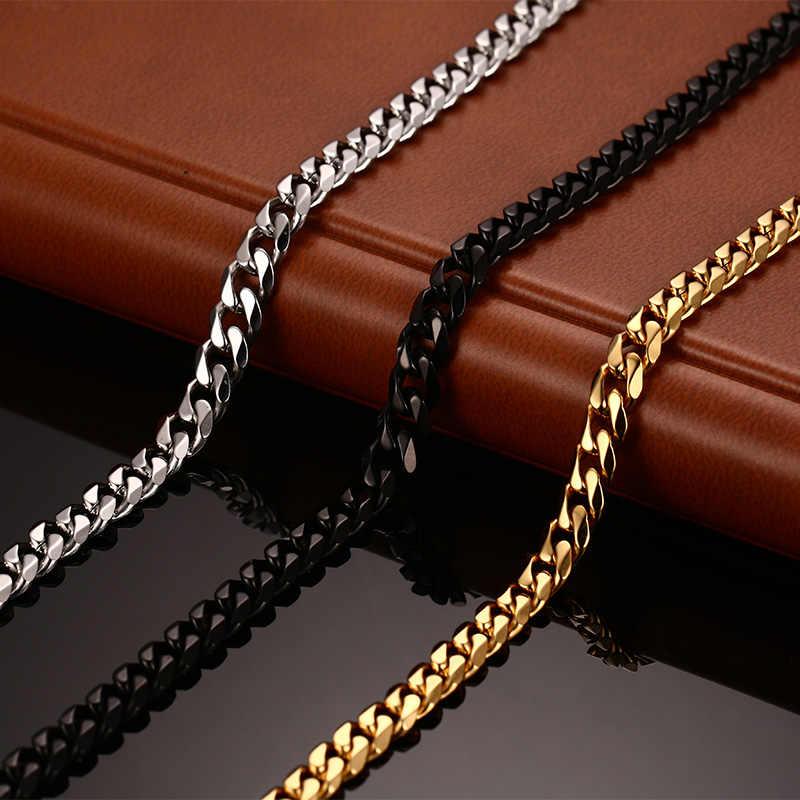 Meaeguet moda ze stali nierdzewnej 24/30 cal długie łańcuszki naszyjniki dla mężczyzn 3mm/5mm/7mm szeroki złoty kolorowy naszyjnik łańcuch biżuteria
