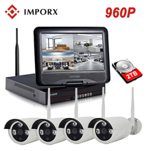 IMPORX 4CH 960P Wireless NVR Kit 10 LCD Monitor Screen 1.3MP Outdoor Wifi IP Camera Security CCTV System Video Surveillance Set wetrans wireless camera security system hd 1080p audio cctv wifi nvr kit home video surveillance outdoor wi fi ip camera set