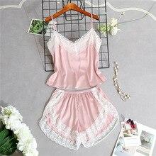 Women Sleep Lounge Lace Trim Silk Cami and Shorts Pajamas Set Ladies Spaghetti Strap Sexy Summer Sleepwear Homewear Nightwear