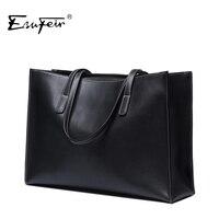2016 ESUFEIR Luxury Brand Genuine Leather Women Handbag Cowhide Women Shoulder Bag Daily OL Large Capacity