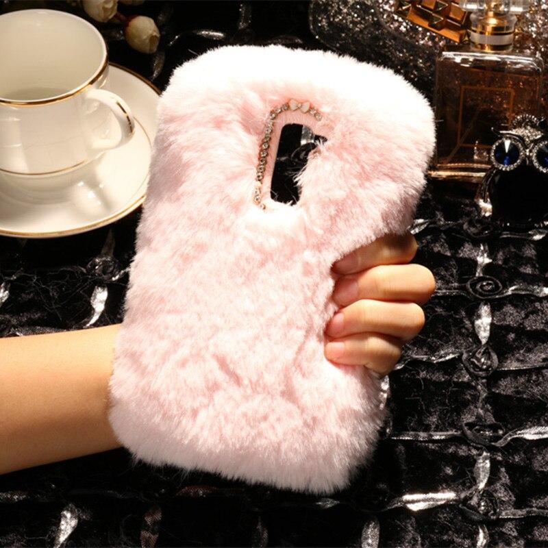 3D Warm Plush Rabbit Hair Cases For LG K20 K30 2019 K41S K51S G6 G8 Q8 Q6 G8X V40 Thinq X Power 3 2 Stylo 5 3 2 Soft Back Cover