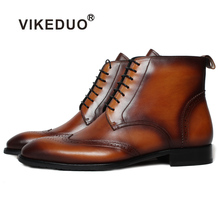 VIKEDUO Luxury Brand Fashion New Vintage Charm Mens Boots Genuine Leather Handmade Handsome Bullock Carved Boot For Man Male