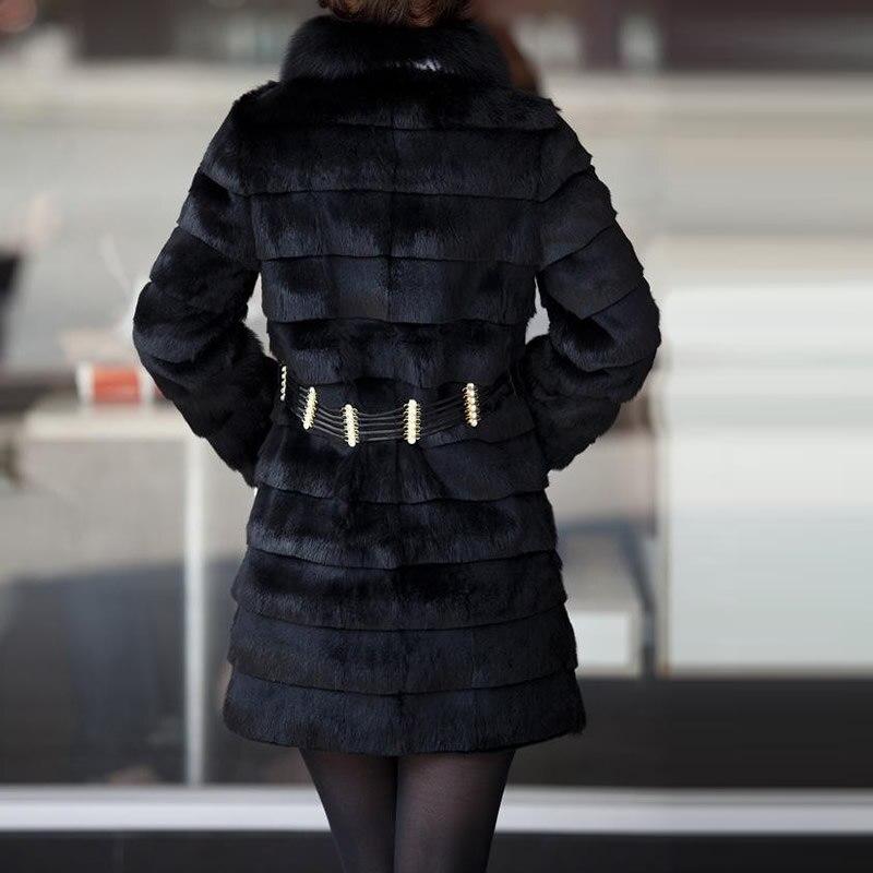 noir Des Fourrure Faux Long Pour 3xl Fausse Moyen Femmes 6xl Luxe Blanc 2xl Manteau Taille Plus Vêtements En Blanc Noir Manteaux 2018 D'hiver La De Vison ZwnqaE4