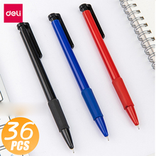 Deli 36pcs Black/Blue/Red 0.7mm Press ballpoint Oil Pen Plastic Gel Neutral Multi-function Press Ballpoint Pen School Stationery japanese pilot lkfb 80ef multi function four color red blue black and green erasable pen gel pen multi function pen 1pcs lot