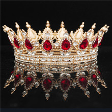 Okrągła kryształowa korona Diadem królowa stroik metalowe złote kolory tiary i korony Prom korowód ślubne akcesoria biżuteria do włosów