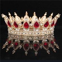 Yuvarlak kristal taç Diadem kraliçe Headdress Metal altın renk Tiaras ve taçlar balo Pageant düğün saç takı aksesuarları