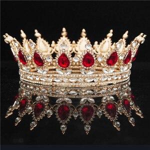Image 1 - Yuvarlak kristal taç Diadem kraliçe Headdress Metal altın renk Tiaras ve taçlar balo Pageant düğün saç takı aksesuarları