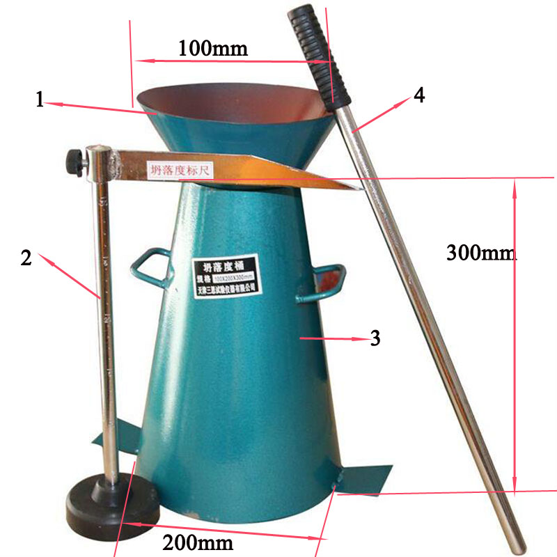 1set Concrete Slump Cone Barrel Sleeve Slump Cylinder And Tamping