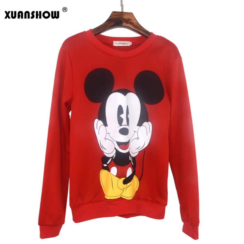 XUANSHOW 19 Women Sweatshirts Hoodies Character Printed Casual Pullover Cute Jumpers Top Long Sleeve O-Neck Fleece Tops S-XXL 8