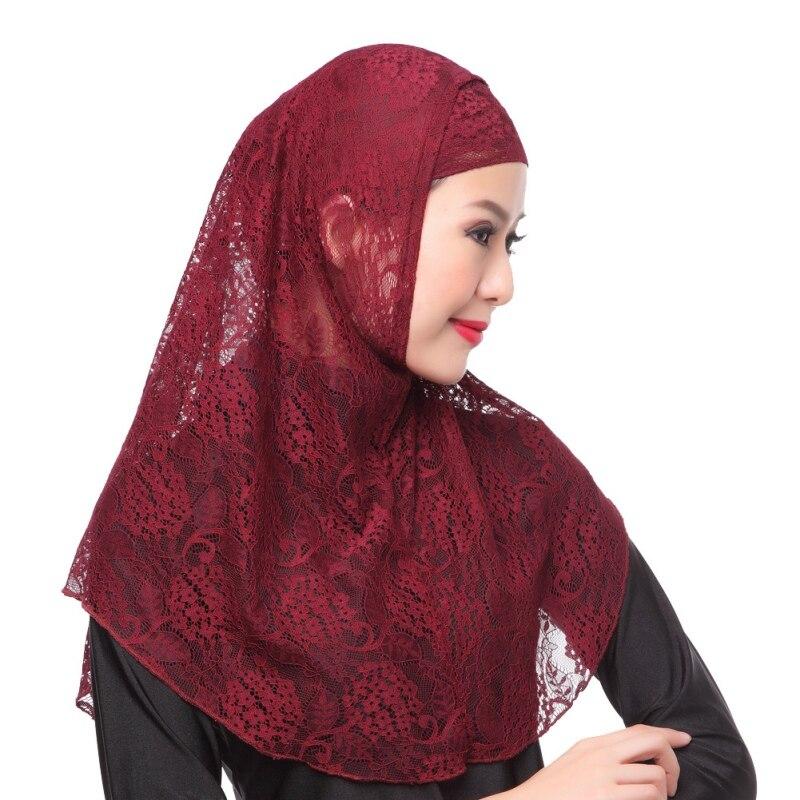 10 Colors Lace Plain Hijab Scarf Fashion Wraps Foulard Nylon Maxi Shawls Soft Long Islamic Muslim Scarves Hijabs Hat 2pcs Set T8