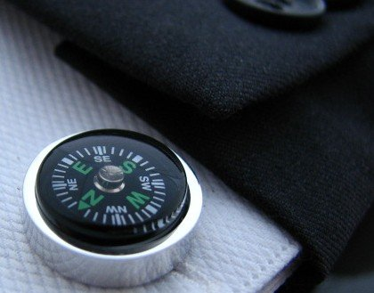 Free shipping cuff links compass thermograph design cf277