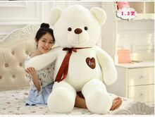 stuffed toy large 120cm white teddy bear plush toy love heart bear doll soft throw pillow,Valentine's Day,Xmas gift c609