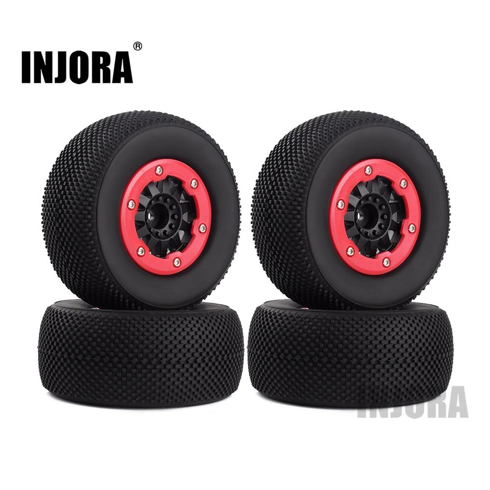 INJORA 4PCS RC Car Wheel Rim And Tires 12mm For 1/10 RC Short-Course Truck Traxxas SLASH HPI