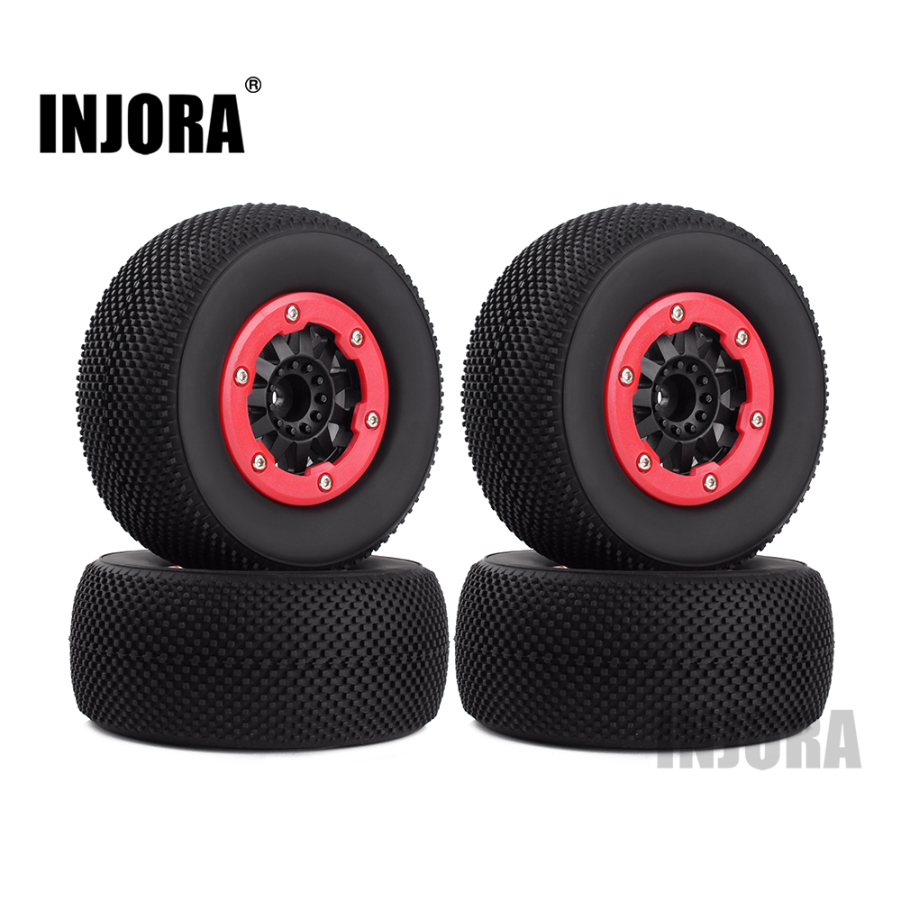 INJORA 4PCS RC Car Wheel Rim and Tires for 1/10 RC Short-Course Truck Traxxas SLASH HPI 4pcs set rc parts 12mm hex bead loc short course ruber tire rims for hpi hsp rc 1 10 traxxas slash