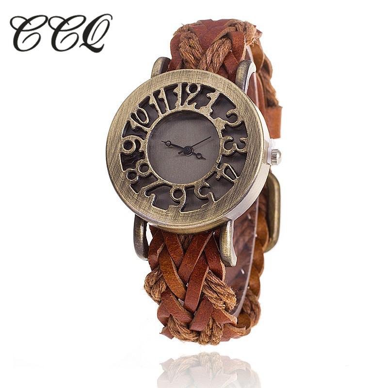 CCQ Retro Vintage Hollow Out Braided Leather Bracelet Watch Women Antique Quartz Watch Ladies Clock Relogio Feminino Gift 1277 antique retro bronze car truck pattern quartz pocket watch necklace pendant gift with chain for men and women gift