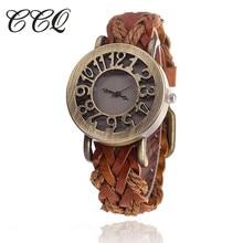 CCQ Retro Classic Hole Out Braided Leather-based Bracelet Watch Girls Vintage Quartz Watch Women Clock Relogio Feminino Present 1277