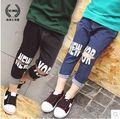 Девушки брюки весна брюки 2017 новой Корейской версии письма свободная талия отверстия дикий ковбой брюки карандаш брюки
