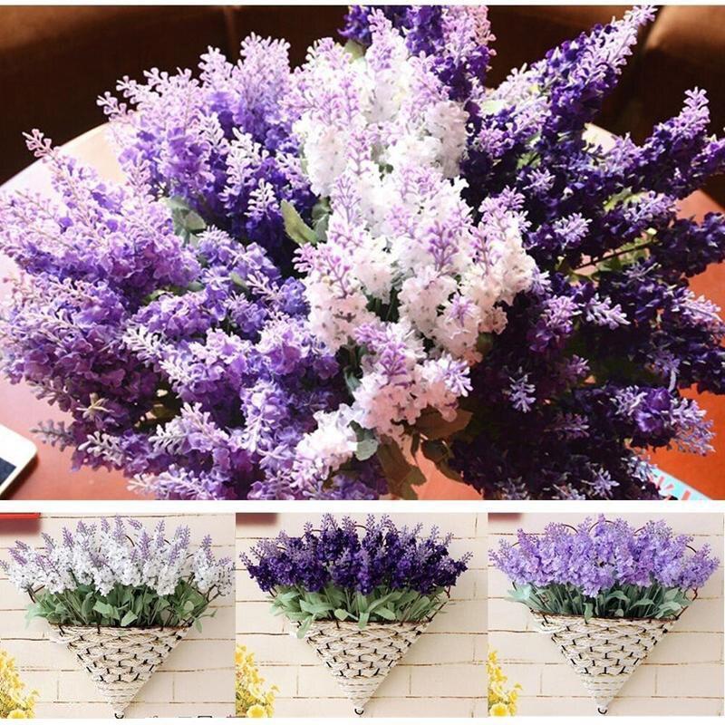 Nueva Romatic belleza Bouquet Artificial Lavender flores de seda nuevos Lavender