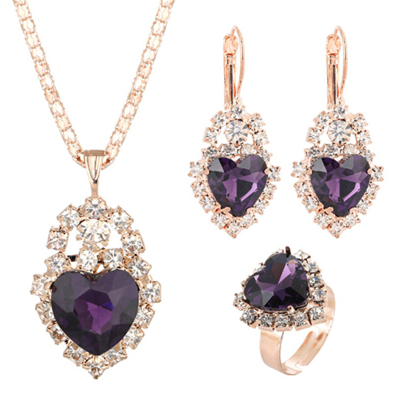 Trendy Bridal Jewelry Sets Colorful Austrian Crystal Golden Palted Chain Heart Pendant Necklace Earrings Ring Femme Accessory