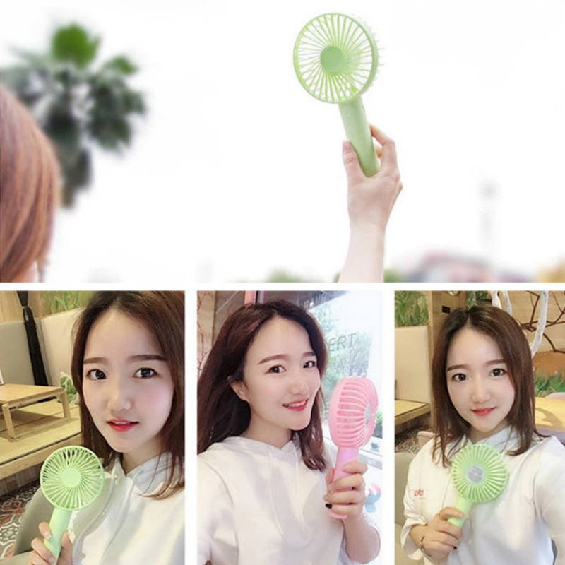 New Handheld Personal Mini Fan USB Rechargeable Portable Fan Cooler With Strap Adjustable 3 Speed For Office Outdoor Travel