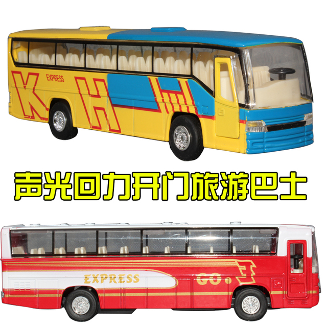 free shipping Tourist bus toy alloy car model toy car the door acoustooptical WARRIOR