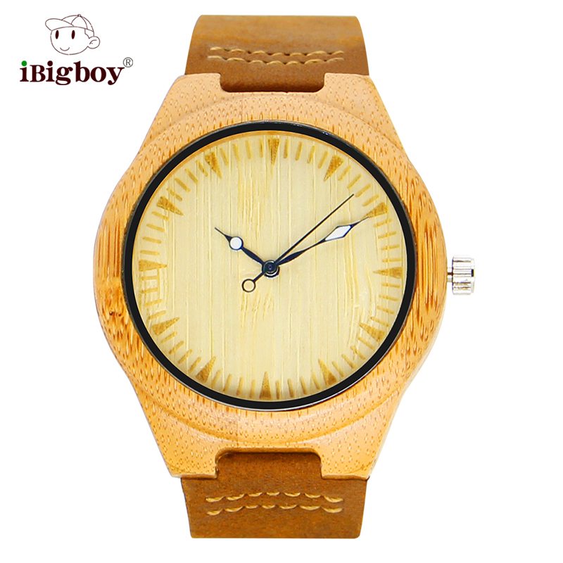 iBigboy Natural Bamboo Men Watch Wooden Wristwatch Genuine Leather Band Japan Quartz Movement Wood Watches Relogio Masculino