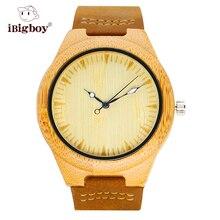 IBigboy Banda de Cuero Reloj de Los Hombres Reloj de pulsera de Madera De Bambú Natural Genuino Japón Hombres Movimiento de Cuarzo De Madera Relojes Relogio masculino