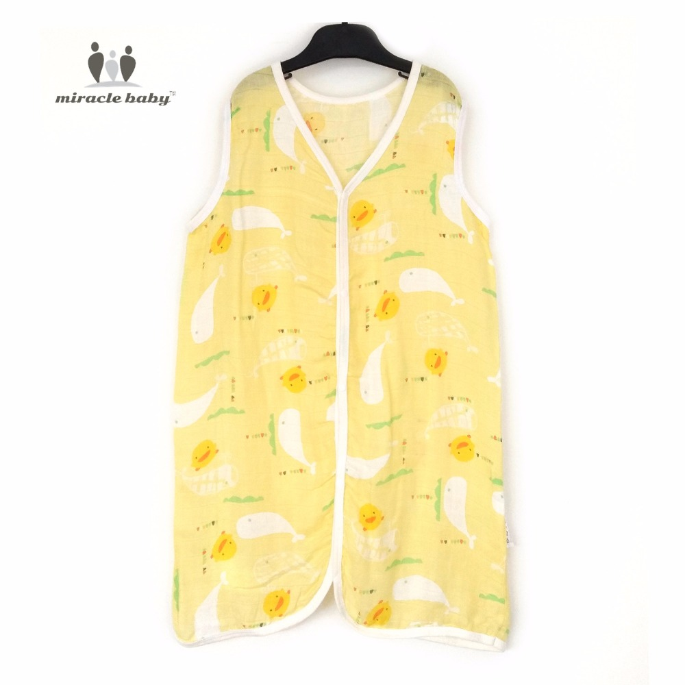 New Baby 100% Bamboo Cotton Soft Vest Sleeping Bag Sleepsacks Swaddle Wrap Caught Straddle Kick for Newborn Unisex Yellow duck
