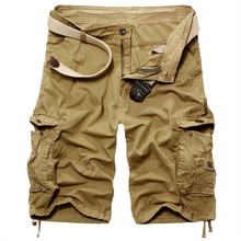 New 2018 Men Cargo Shorts Casual Loose Short Pants Camouflage Military Summer Style Knee Length Men