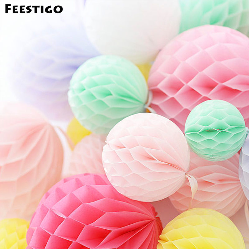 10PCS 4inch(10cm) Hot Tissue Paper Lanterns Honeycomb Ball Hanging Ornaments Wedding Birthday Baby Shower Home Party Decoration