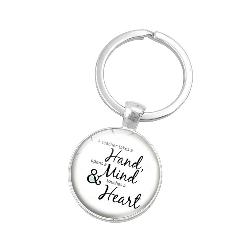 NEW Fashion Accessories Buckle charm Key Chain Ring Holder Silver Glass Metal Keychain for Men Women Jewelry Teachers Day Gifts