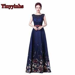Yinyyinhs robe de soiree lace print prom dresses beaded waist navy formal evening dress a line.jpg 250x250