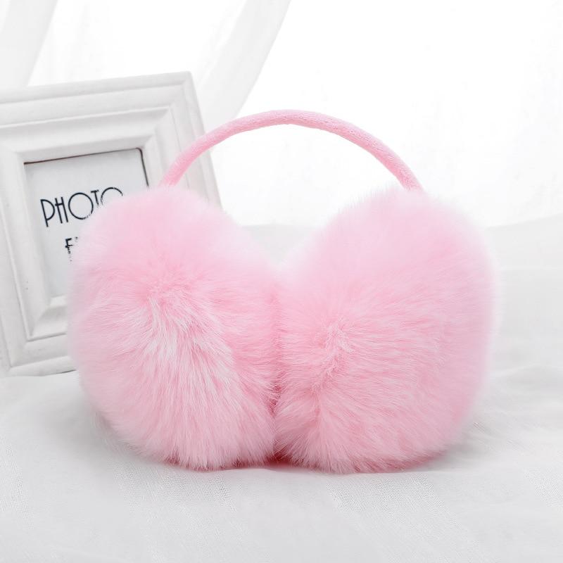 Pink Watercolor Lotus Flower Plant Winter Earmuffs Ear Warmers Faux Fur Foldable Plush Outdoor Gift