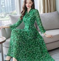 High Quality Plus Size S 3XL 2019 Spring New Arrival Bow Flare Sleeve Flower Printed Woman Long Chiffon Dress