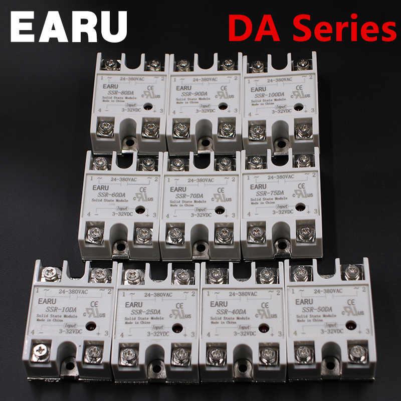 24 v-380 v 40a 250 v SSR-40DA 솔리드 스테이트 릴레이 모듈 3-32 v dc ac SSR-40 da ssr 40a 플라스틱 커버 케이스 공장 도매