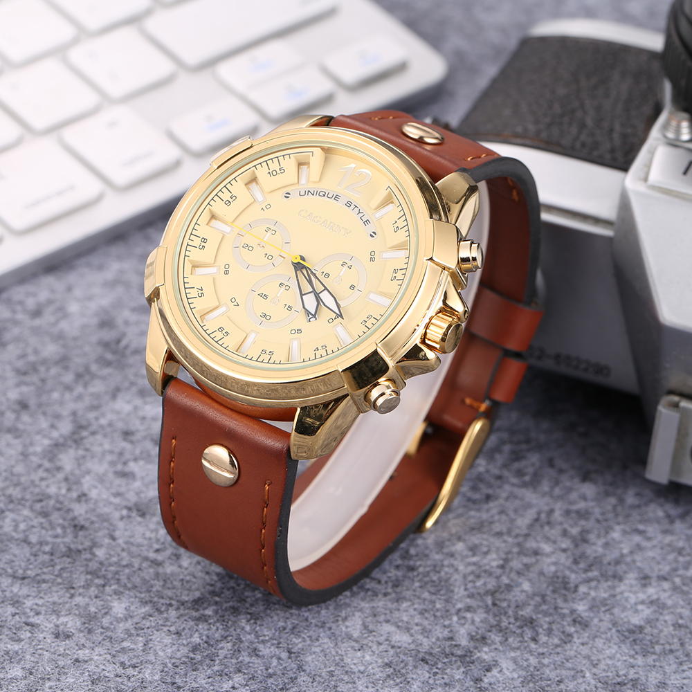 Luxury Brand Cagarny Analog Quartz Watch For Men Casual Mens Wrist Watches Man Clock Big Golden Case Military Relogio Masculino orlando z400 golden case quartz watch for men