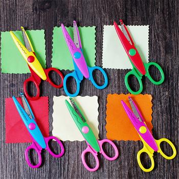 1 sztuk nożyczki Laciness Metal i tworzywo sztuczne DIY Scrapbooking zdjęcie kolory nożyczki pamiętnik papieru dekoracji koronki z 6 wzorami tanie i dobre opinie D-N4