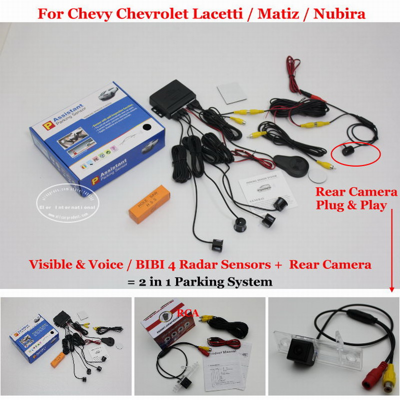 Liislee For Chevy Chevrolet Lacetti/ Matiz/ Nubira - Car Parking Sensors + Back Up Camera = 2 in 1 Visual Alarm Parking System