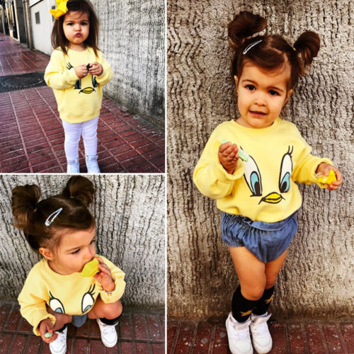 New Style Spring Autumn Yellow Duck Hoodies Kids Baby Girl Boy Cartoon Loose Top T-shirt Sweatshirt Casual Long Sleeve Clothes