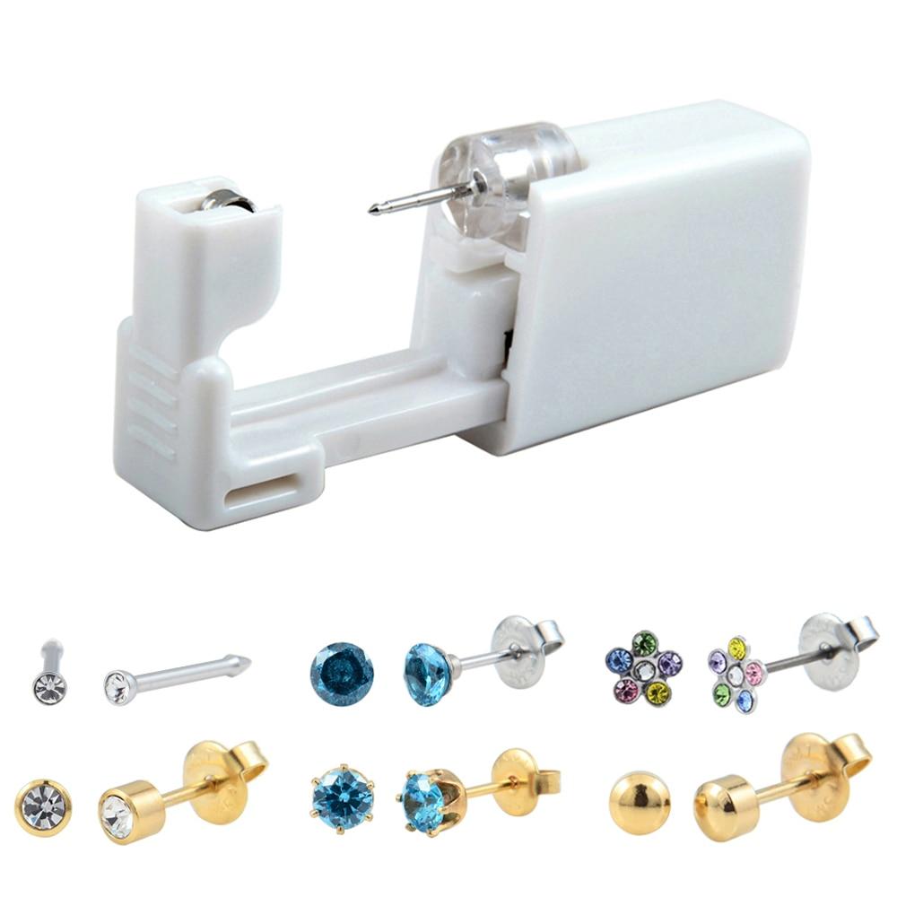 Stud Earrings Earnest 1units Disposable Safe No Pain Sterile Ear Stud Earring Stude Piercing Gun Piercer Tool Kit Machine Kit Earring Piercing Jewelry Excellent Quality
