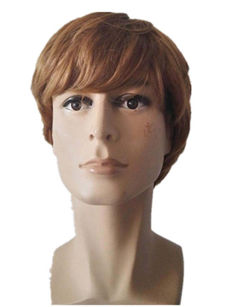 Straight hair perm guys - Fei Show Man Wig Synthetic Heat Resistant Fiber Short Wavy Hair Male Hairpiece Black