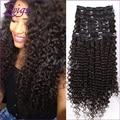 Lwigs extensiones de clip de cabello, kinky rizado clip en extensiones de cabello humano, brasileño de la virgen rizada rizada del pelo humano clips