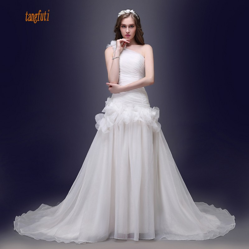 Ruching Wedding Gowns: Real Sample One Shoulder Organza Wedding Dress Pleats
